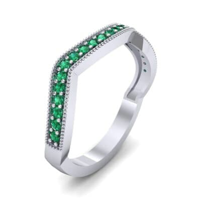 Curved Milgrain Pave Emerald Ring (0.23 CTW) Perspective View