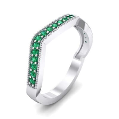 Curved Milgrain Pave Emerald Ring (0.23 CTW)