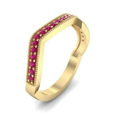 Curved Milgrain Pave Ruby Ring (0.23 CTW)