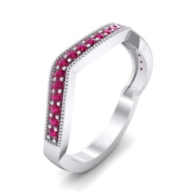 Curved Milgrain Pave Ruby Ring (0.23 CTW) Perspective View
