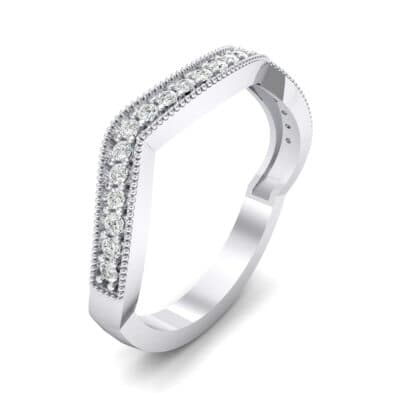 Curved Milgrain Pave Crystal Ring (0.23 CTW) Perspective View