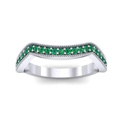 Curved Milgrain Pave Emerald Ring (0.23 CTW) Top Dynamic View