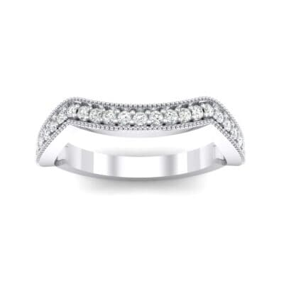 Curved Milgrain Pave Crystal Ring (0.23 CTW) Top Dynamic View