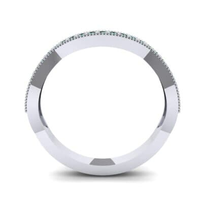 Curved Milgrain Pave Emerald Ring (0.23 CTW) Side View