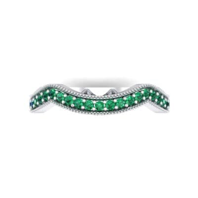 Curved Milgrain Pave Emerald Ring (0.23 CTW) Top Flat View