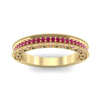 Petite Three-Sided Filigree Ruby Ring (0.48 CTW) Top Dynamic View
