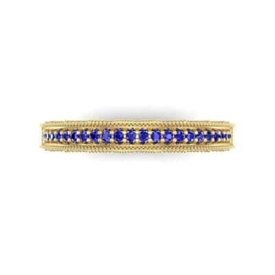 Petite Three-Sided Filigree Blue Sapphire Ring (0.48 CTW) Top Flat View