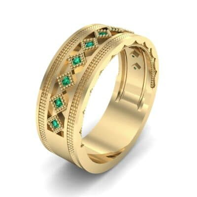 Wide Harlequin Emerald Ring (0.11 CTW) Perspective View