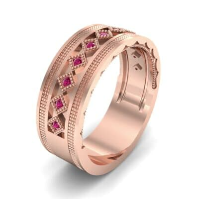 Wide Harlequin Ruby Ring (0.11 CTW) Perspective View
