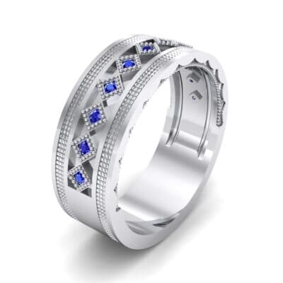 Wide Harlequin Blue Sapphire Ring (0.11 CTW) Perspective View