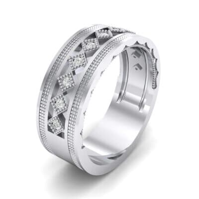 Wide Harlequin Diamond Ring (0.11 CTW) Perspective View