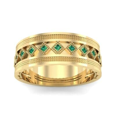 Wide Harlequin Emerald Ring (0.11 CTW) Top Dynamic View