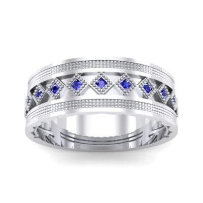 Wide Harlequin Blue Sapphire Ring (0.11 CTW) Top Dynamic View