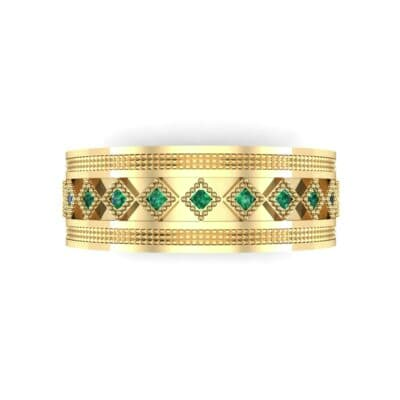 Wide Harlequin Emerald Ring (0.11 CTW) Top Flat View