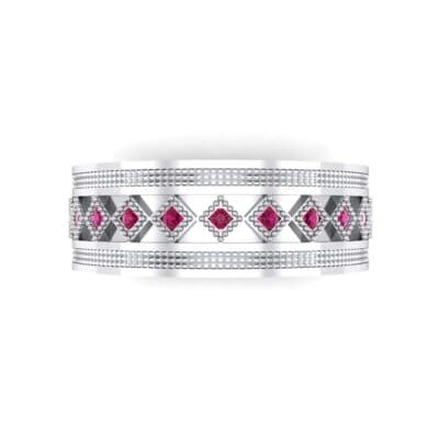 Wide Harlequin Ruby Ring (0.11 CTW) Top Flat View