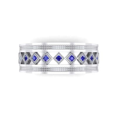 Wide Harlequin Blue Sapphire Ring (0.11 CTW) Top Flat View