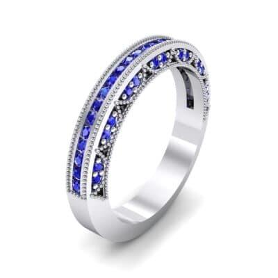 Arc Three-Sided Filigree Blue Sapphire Ring (0.53 CTW)