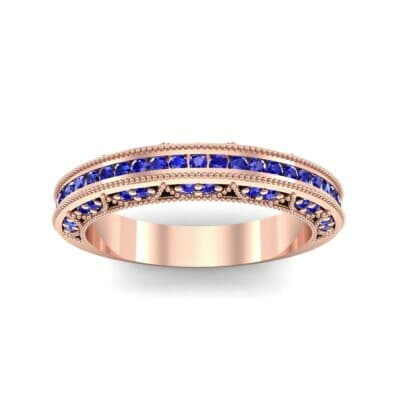 Arc Three-Sided Filigree Blue Sapphire Ring (0.53 CTW) Top Dynamic View