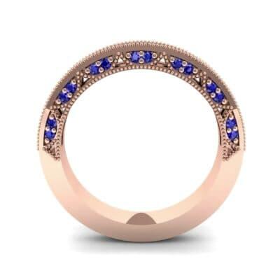 Arc Three-Sided Filigree Blue Sapphire Ring (0.53 CTW) Side View