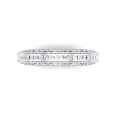 Arc Three-Sided Filigree Crystal Ring (0.53 CTW) Top Flat View