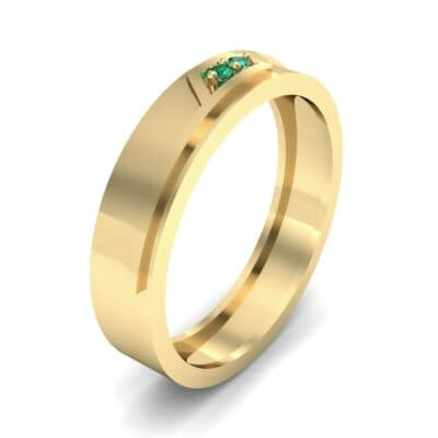 Pave Rhombus Emerald Ring (0.03 CTW) Perspective View
