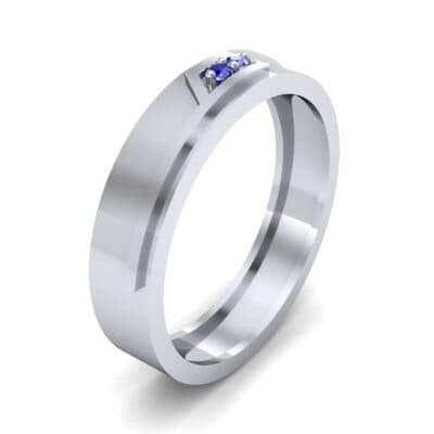 Pave Rhombus Blue Sapphire Ring (0.03 CTW) Perspective View