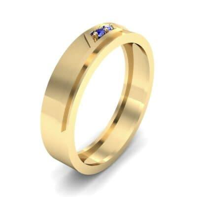 Pave Rhombus Blue Sapphire Ring (0.03 CTW)