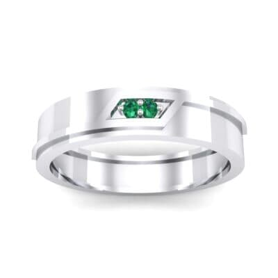 Pave Rhombus Emerald Ring (0.03 CTW) Top Dynamic View