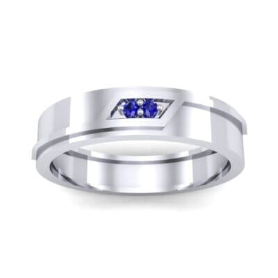 Pave Rhombus Blue Sapphire Ring (0.03 CTW) Top Dynamic View