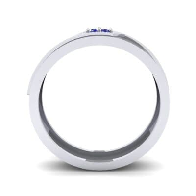Pave Rhombus Blue Sapphire Ring (0.03 CTW) Side View