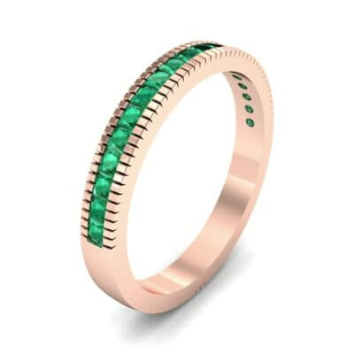 Channel-Set Toothed Rim Emerald Ring (0.29 CTW)