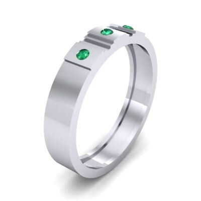 Three-Stone Divide Emerald Ring (0.08 CTW)