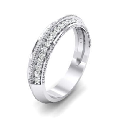 Knife-Edge Pave Milgrain Crystal Ring (0.37 CTW) Perspective View