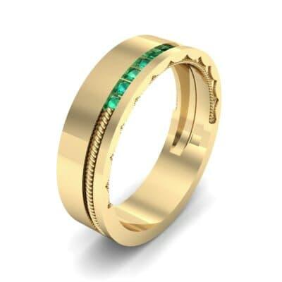 Demilune Rope Inlay Emerald Ring (0.14 CTW)