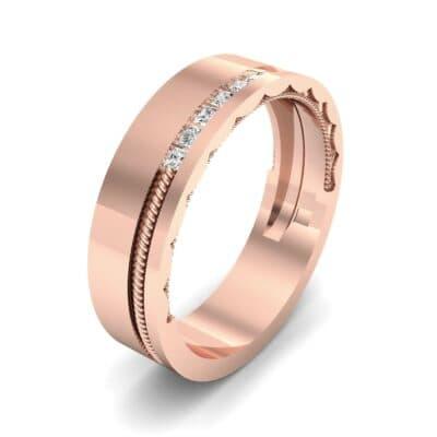 Demilune Rope Inlay Diamond Ring (0.14 CTW)