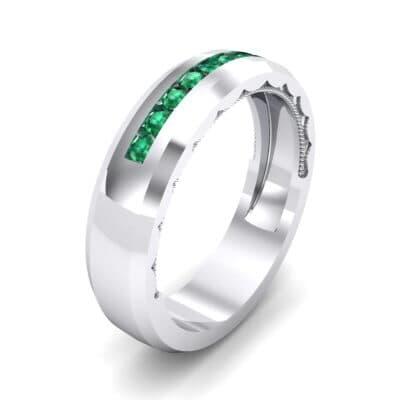 Beveled Edge Demilune Emerald Ring (0.18 CTW)