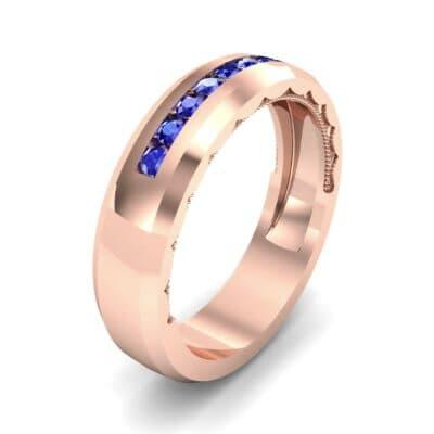 Beveled Edge Demilune Blue Sapphire Ring (0.18 CTW)