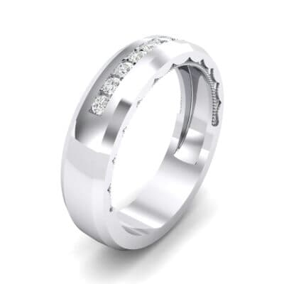 Beveled Edge Demilune Crystal Ring (0.18 CTW) Perspective View