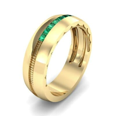Demilune Channel Emerald Ring (0.14 CTW)