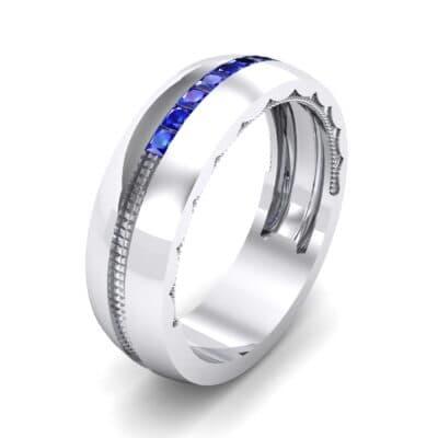 Demilune Channel Blue Sapphire Ring (0.14 CTW)