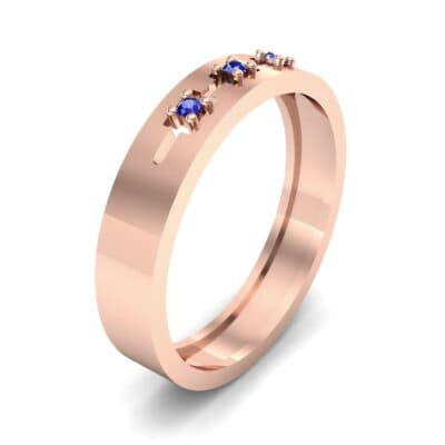 Cut-Out Three-Stone Blue Sapphire Ring (0.05 CTW)