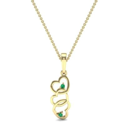 Falling Hearts Emerald Pendant (0.03 CTW) Top Dynamic View