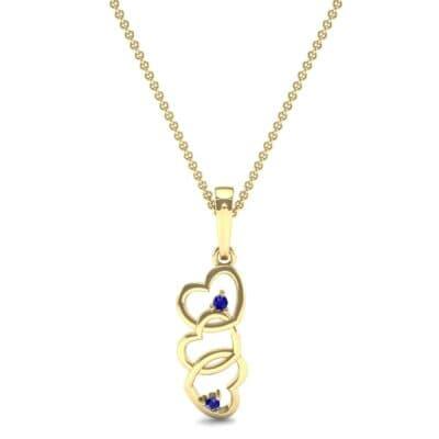 Falling Hearts Blue Sapphire Pendant (0.03 CTW) Top Dynamic View