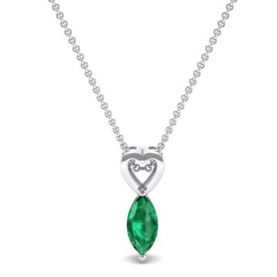 Marquise Heart Emerald Pendant (0.5 CTW) Top Dynamic View