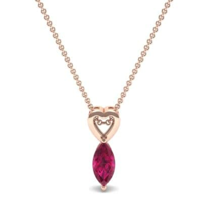 Marquise Heart Ruby Pendant (0.5 CTW) Top Dynamic View