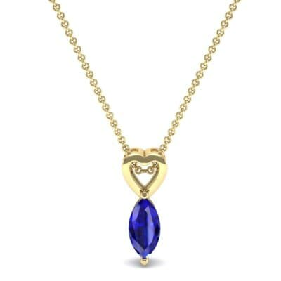Marquise Heart Blue Sapphire Pendant (0.5 CTW) Top Dynamic View