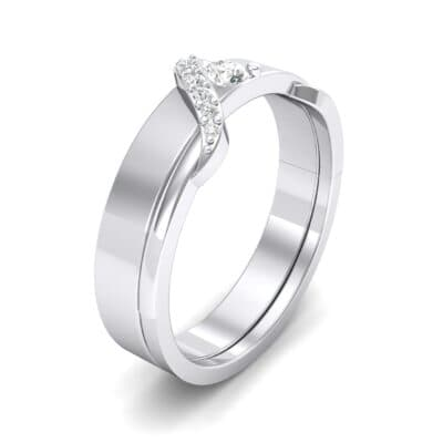 Pave Tilde Crystal Engagement Ring (0.16 CTW) Perspective View