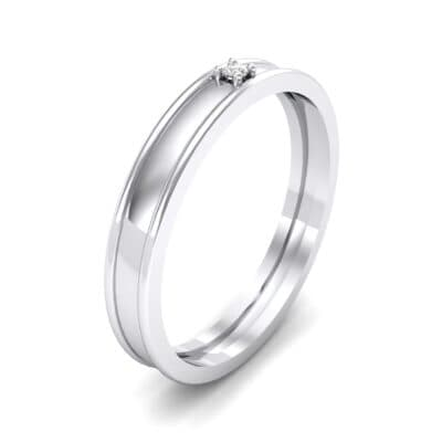 Raised Edge Solitaire Crystal Ring (0.02 CTW) Perspective View