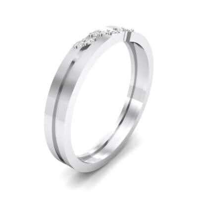 Pave Oblique Crystal Ring (0.04 CTW) Perspective View