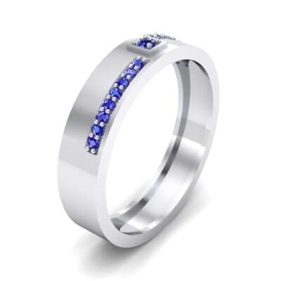 Pave Level Blue Sapphire Ring (0.1 CTW) Perspective View
